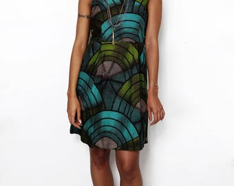 African Print Green Sleeveless Skater Babydoll Pleated Dress