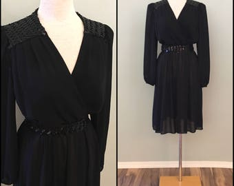 70s black chiffon dress with sequin detail by JT Dress