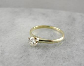 Antique Diamond Solitaire Engagement Ring, Green Gold Diamond Engagement Ring, Vintage Diamond Ring VCAR7Z-P