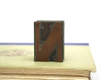 Vintage Copper on Wood Letterpress Printers Block N / The Letter N