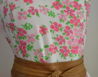 Vintage Tanner of North Carolina pink green cotton floral midi sun dress M medium preppy