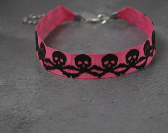 Skull and Cross Bones Choker Necklace in Shocking Pink and Black Faux Leather Handmade Gothic Necklace