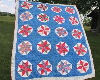 Vintage Handmade Quilt, Red White Blue STAR Patchwork, Cotton Fabric, Rustic Farmhouse Cottage Cabin, 58 x 72 inches