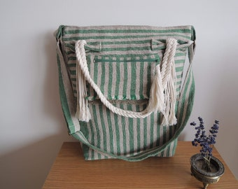Linen bag with Macrame handles, shopping bag, 100% Lithuanian Baltic Linen