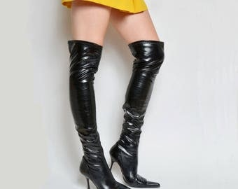 Vintage 90's Black Tall Over the Knee Nylon High Heel Sock Boots