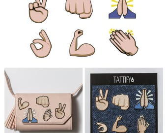 Give Me Five Emoji Hand Emblems Embroidered Sticker Patch Set Real Talk Collection