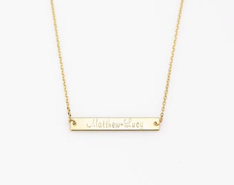Custom Bar Necklace N47 • Gold Plated, Silver Plated, Rose Gold Plated, Personalized Name Bar Necklace, Gold Necklace, Custom Hand Stamped