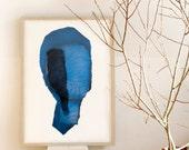 Big Modern Blue Art Print, Abstract Large Contemporary Art Poster of Original Artwork