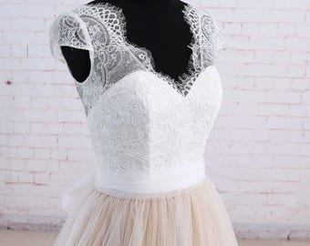 Full A Line Wedding dress with Beige Tulle Underlay Ivory Lace Wedding Dress with Cap Sleeves