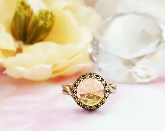 Yellow Topaz Ring - Citrine Birthstone Ring - Yellow Ring - Glass Ring - Antiqued Brass Ring - November Birthstone Ring - Gift For Her R5015