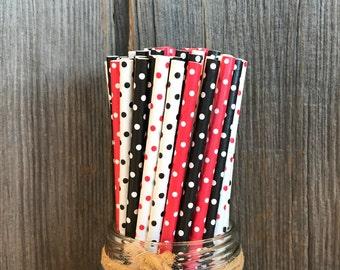 Ladybug Paper Straws, Red Paper Straws, 100 Birthday Straws, Baby Shower, Wedding Supply,  Free Shipping