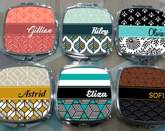 Personalized Retro Patterned Compact Mirrors  - Bachelorette Party Gifts, Personalized Gift, Holiday Gifts