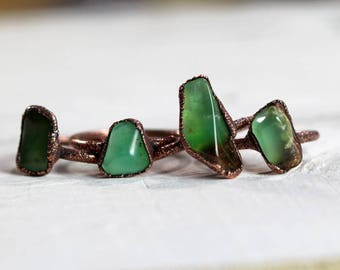 Chrysoprase Ring Electroformed Jewelry Green Crystal Copper Ring Crystal Ring Mint Green Tumbled Stone Ring Stone Ring