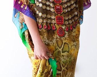 Kaftan dress, Silk multi colored  embellished kaftan for beach or evening wear.