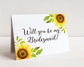 Will You Be My Bridesmaid Proposal - Sunflower Wedding - Rustic Wedding Sunflower Watercolor Wedding - Bridesmaid Request Maid of Honor Card