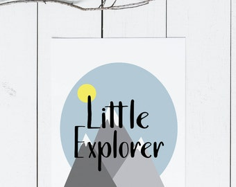 Little Explorer Nursery Sign, Nursery Decor, Boho Nursery Decor, Boy Nursery Printable, Adventure Print, Instant Download, Mountain Nursery