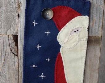 Wool Felt Santa Wall Hanging FREE SHIPPING!