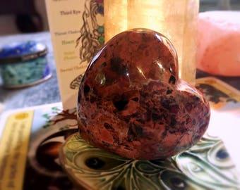 Brecciated Jasper Puffy Heart Healing Crystal, High Grade Palm Stone, Supreme Nurturer, Protection, Strength, Gemstone Heart