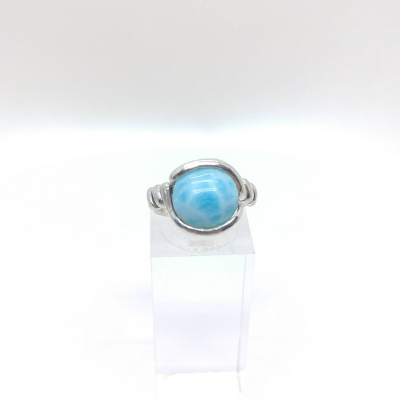 Rare Blue Stone Ring | Ocean Blue Larimar Ring | Sterling Silver Ring Sz 5.25 | Blue Gemstone Ring | Dominican Republic