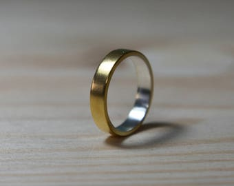 Gold Plated Ring. 925 Silver Gold Plated Ring. Gold Plated Wedding Band. Unisex Gold Plated Wedding Band. Sterling Silver Gold Plated Ring