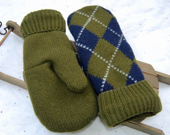 Men's Lambswool Argyle Mittens, Upcycled Sweater Mittens, Upcycled Mittens, Green Argyle Felted Mittens, Warm Winter Mittens, Teacher Gift