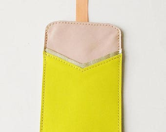Leather cell phone pouch, accessory for I Phone 6, smartphone case, leather case, iphone cover, real leather sleeve, cotton lining, ribbon