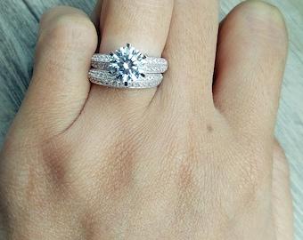 2 Pcs Wedding Rings Bridal Set: 2 Ct Round Cut Diamond Simulant Engagement  Ring +