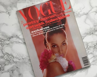 Vintage February 1992 VOGUE Magazine / Catwalk Collections Issue / British UK Edition