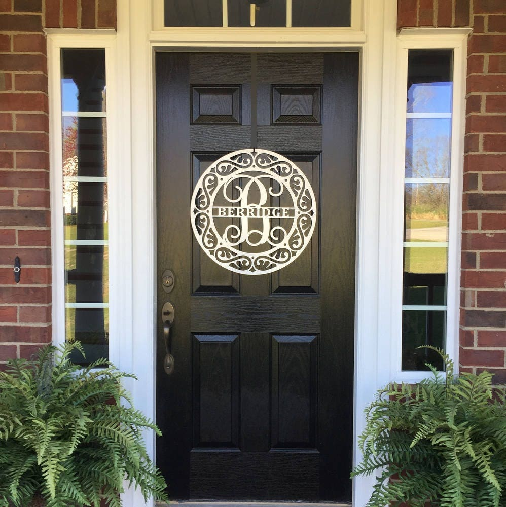 Monogram Front Door Decoration: Monogram Door Hanger Door Wreath Personalized Decor Metal