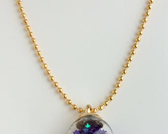 Glitter Star Glass Ball Necklace Purple Stars Gold Plated Sparkly Sparkling Multicoloured Glass Orb Terrarium Pentagram Constellations