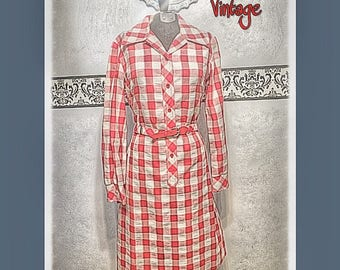 1970's Red and White Plaid Hipster Shirt Dress by Country Miss,  Medium, Size 10, Vintage 70's Red Gingham Checkered Dress