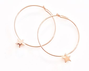 Star Hoop Earrings Rose Gold Earrings Star Charms Gold Hoops Small Hoops Rose Gold Dangle Earrings Gold Stars Rose Gold Gift Hoop Earrings