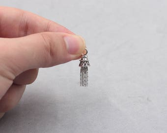 Sterling Silver Tassels -- 925 Silver Antique Tibetan Style Charms Wholesale For Bridesmaid Gift Party YX-Y402-1