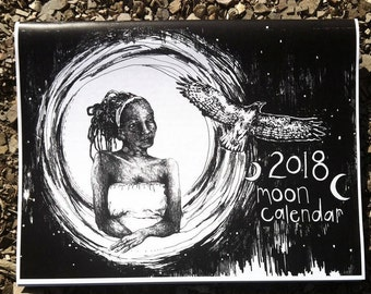 2018 moon calendar-- black and white astrological lunar wall calendar moon phase cycles original line drawings by amara hollow bones
