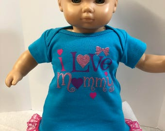"15 inch Bitty Baby Clothes, Adorable SPARKLING ""I LOVE Mommy"" Dress, 15 inch AG Doll Bitty Baby or Twin Doll, Sparkling Pink Hearts!"