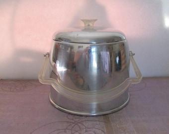 Vintage Mid Century Aluminum Ice Bucket with Lucite Handle