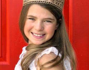Petunia Regal Gold Lace Crown - Full Size - Lace Crown - Toddler - Youth - Tween - Teen - Adult - Queen - Princess - Photography Prop - HG
