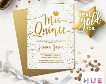 quinceañera invitations | printed white & gold | REAL GOLD FOIL | mis quince invitations quince años  | gold envelopes | english or spanish