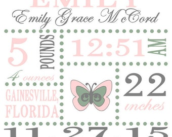 Baby Girl Birth Announcement Statics SVG