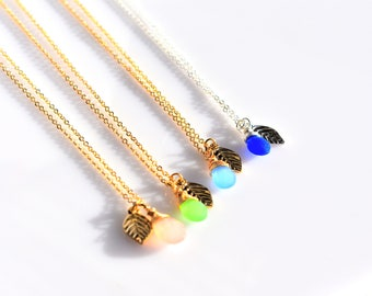 Gemstone Charm Necklace/Leaf Charm Necklace/Gold/Silver
