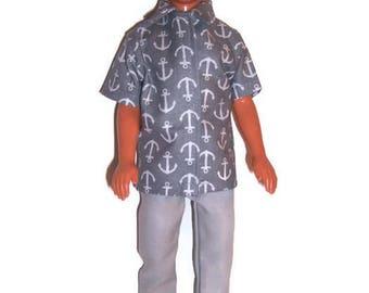 3pc.Set-Gray Anchor Print Shirt & Shorts,Gray Pants for Ken dolls