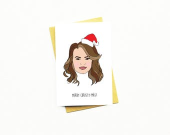 Funny Christmas Card...Funny Holiday Card...Unique Christmas Card...Chrissy Teigen Christmas Card...Celebrity Christmas Card...Chrissy-mass!