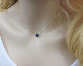 Delicate Sapphire Necklace, Blue Sapphire Pendant, September Birthstone, Genuine Sapphire Jewelry, Sapphire Drop Necklace, Extender Chain