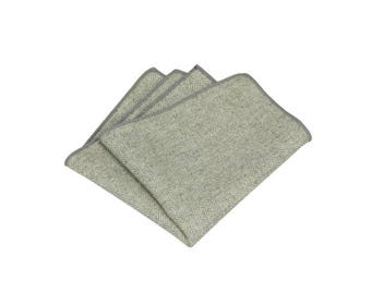 Grey Herringbone Wool Pocket Square.Gray Wool Hankies.Mens Pocket Square Wedding. Gifts.