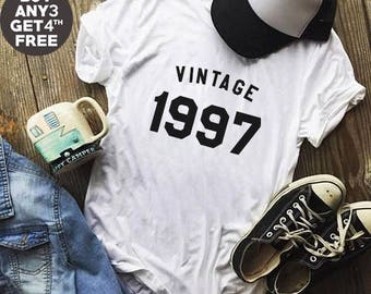Vintage Shirt 21st Birthday Gifts 1997 Tshirt Birthday Shirt Gifts Present Ladies Tees Birthday Cool Shirt Men Tshirt Women Shirt Ladies Tee