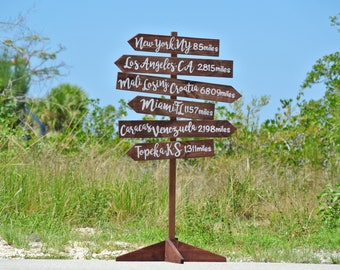 Rustic Wood Directional Sign, Mileage Destination Wooden Sign post. Garden Decor, Christmas Gift Idea