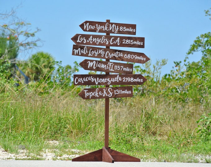 Rustic Wood Directional Sign, Mileage Destination Wooden Sign post. Garden Decor, Family Gift Idea, Couples gift.