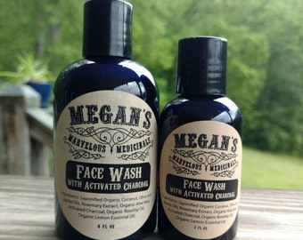 Face Wash with activated charcoal, organic, no sulfates, saponified coconut oil base, light fresh, facial cleanser, no artificial anything.