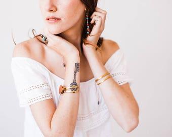 Golden Brass Adjustable Narrow Cuff Bracelet