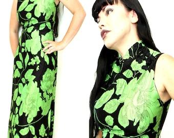 BLACK and GREEN GEISHA Maxi Dress gd4 70s Pinup Cheongsam Vintage Slinky 12 Viva Las Vegas Asian button up high neckline 60s